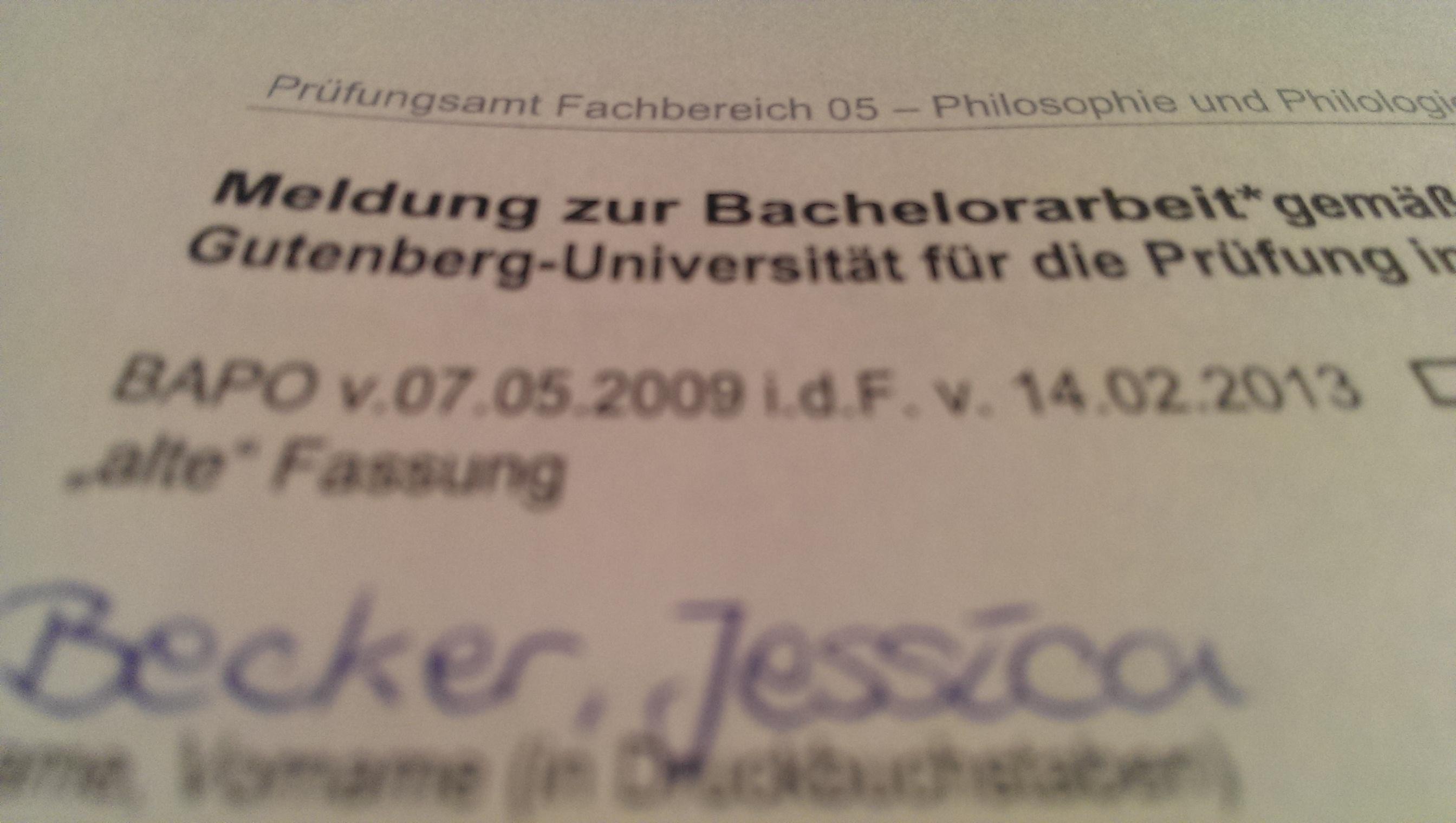 [Projekt Bachelorarbeit] Es ist offiziell